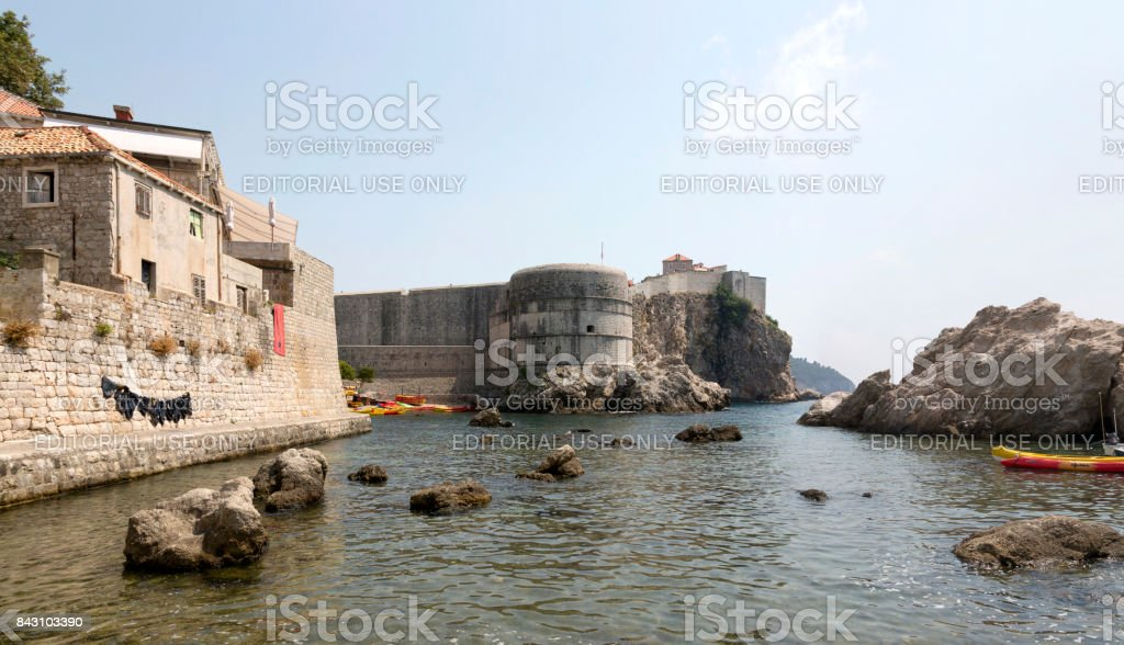 Panoramic image Fortress walls of the city of Dubrovnik, Croatia. stock photo