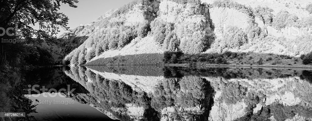 Panoramic Image Of A Lake In Black And White stock photo