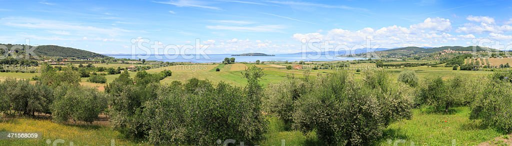 Panoramic image of a view to Lake Trasimeno stock photo
