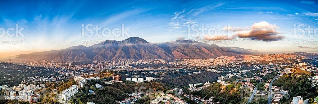 Panoramic image of Caracas city aerial view with El Avila stock photo