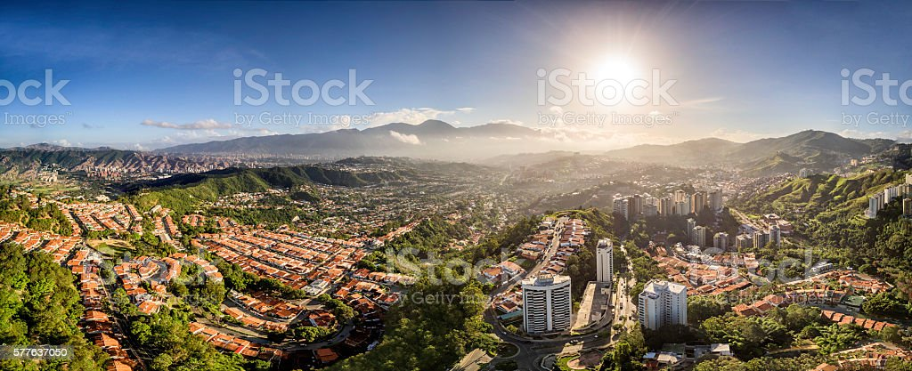 Panoramic image of Caracas city aerial view with El Avila stock photo