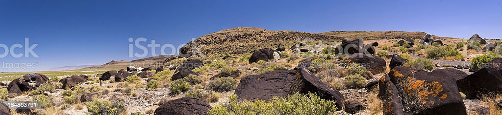 Panoramic Image of Grimes Point Archaeological Site in Nevada stock photo