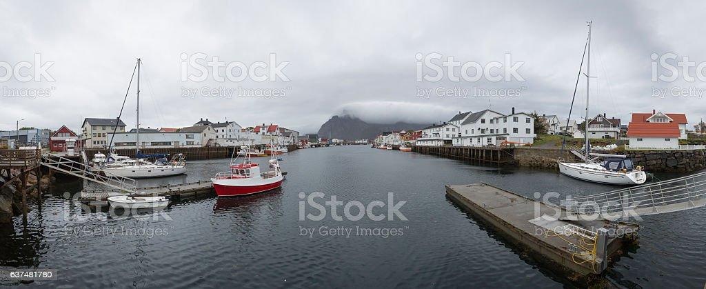 Panoramic image of Henningsvær, Norway stock photo