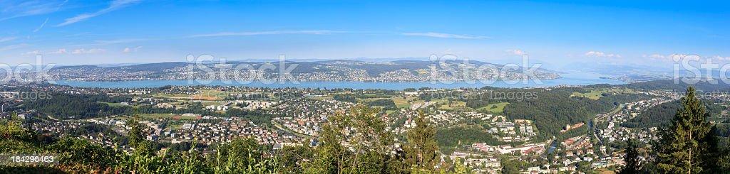 Panoramic image of Lake Zurich stock photo