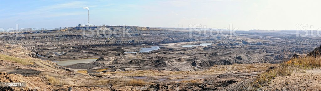 panoramic image of open Strip Coal mine stock photo