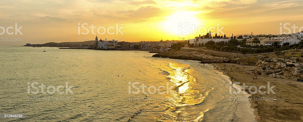 Panoramic image of Sitges, Catalonia, Spain stock photo
