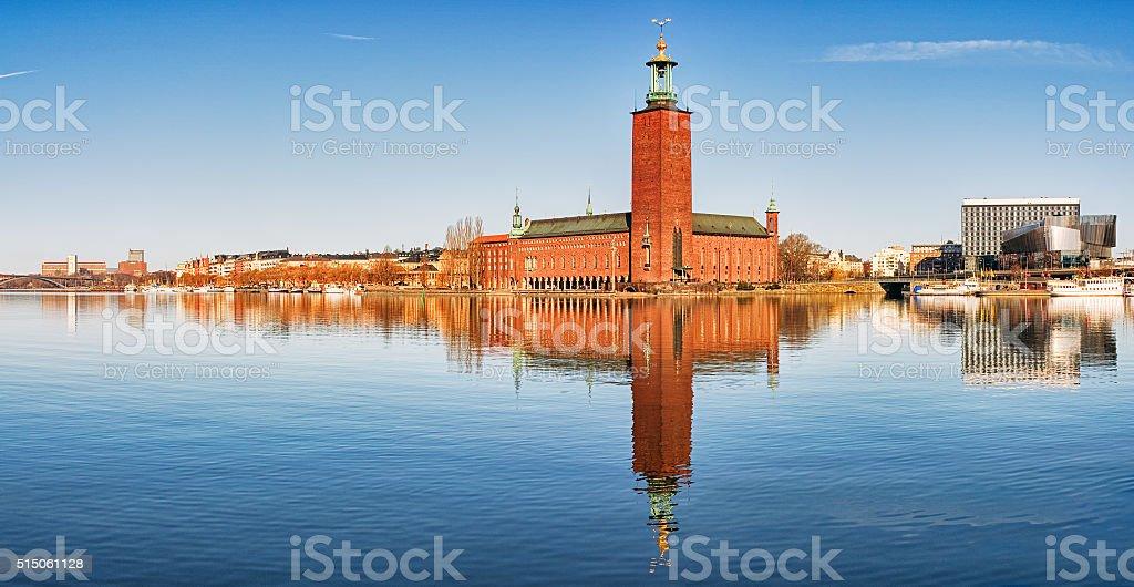 Panoramic image of Stadshuset, Stockholm City-hall. stock photo