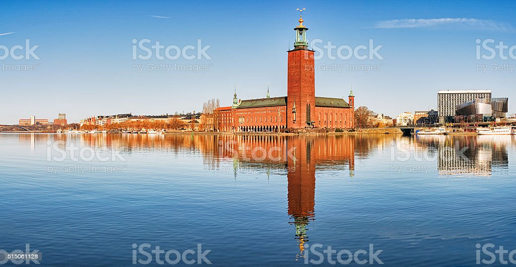Panoramic image of Stadshuset, Stockholm City-hall. stock photo