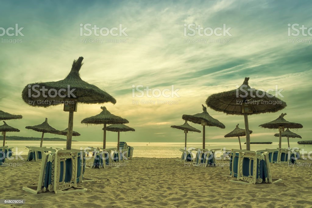Panoramic image of sunrise on the beach in Mallorca. Europe. Spain stock photo