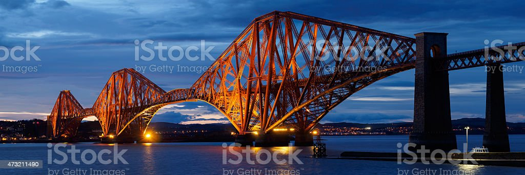 Panoramic Image of the iconic Forth Rail Bridge, Scotland. stock photo