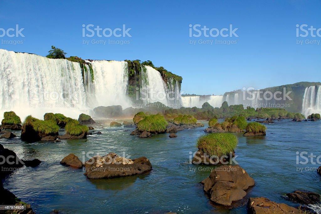 Panoramic image of the Igua?u waterfall stock photo