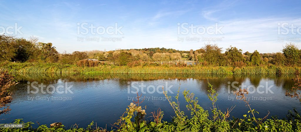 Panoramic image of the Lee Navigation in Hertfordshire stock photo
