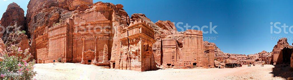 Panoramic image of the Tombs of Petra stock photo