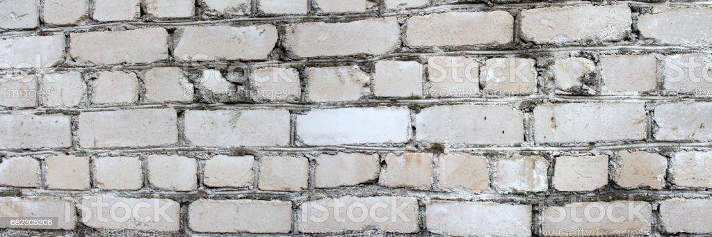 Panoramic image of white brick wall. stock photo