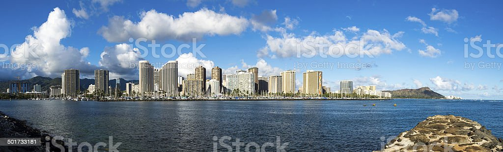 Panoramic image showing the Ala Wai Boat Harbor in Waikiki stock photo