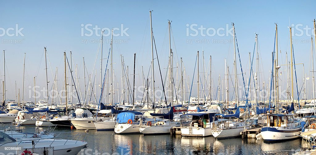 panoramic images from the harbor with yachts at dusk royalty-free stock photo