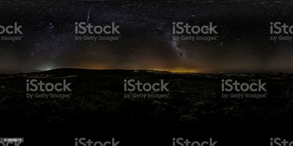 Panoramic in 360 degrees of the Milky Way in South Africa stock photo