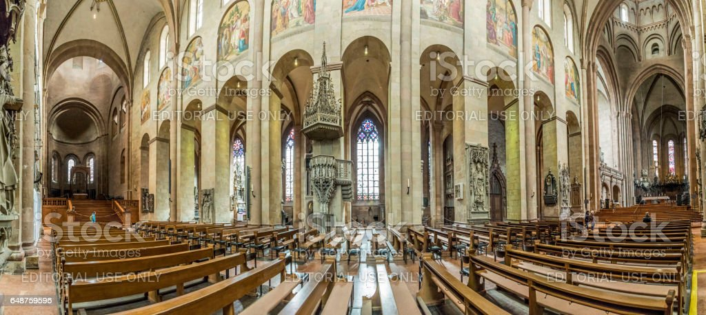 panoramic inside view of the  Dom cathedral in Mainz stock photo