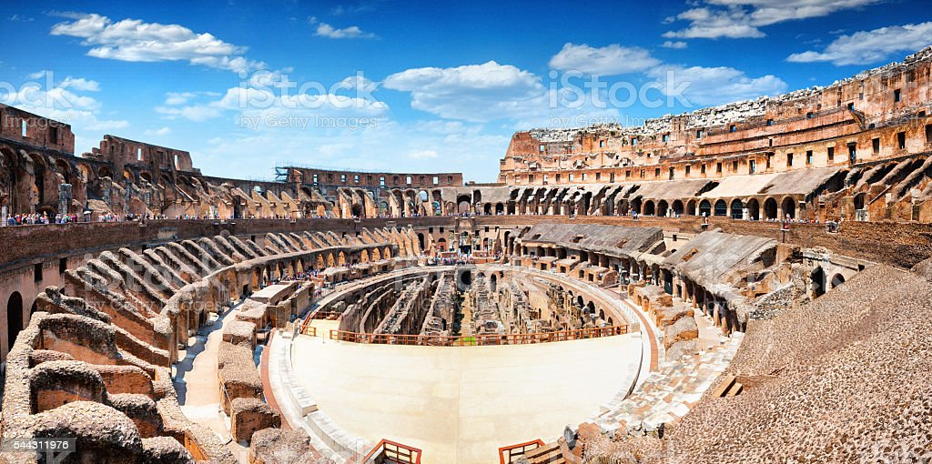 Panoramic Interior of The Colosseum in Rome, Italy stock photo