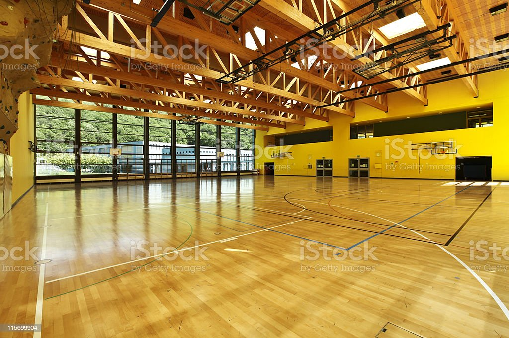 Panoramic interior shot of a gym stock photo