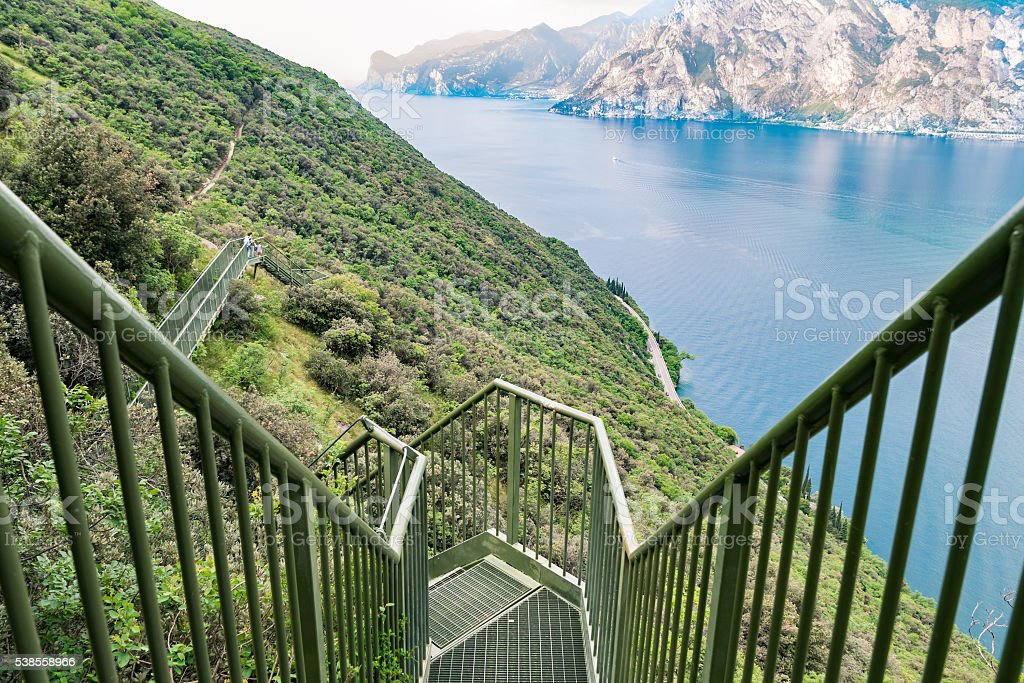 Panoramic iron staircase on Lake Garda. stock photo