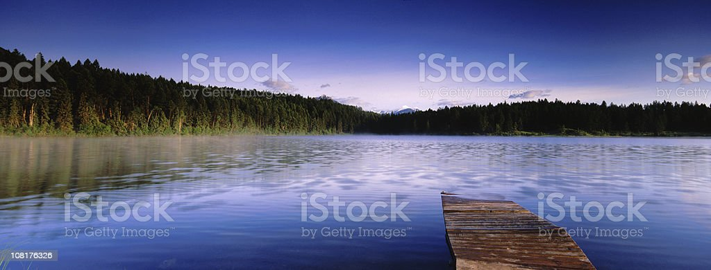 Panoramic Lake and Dock royalty-free stock photo