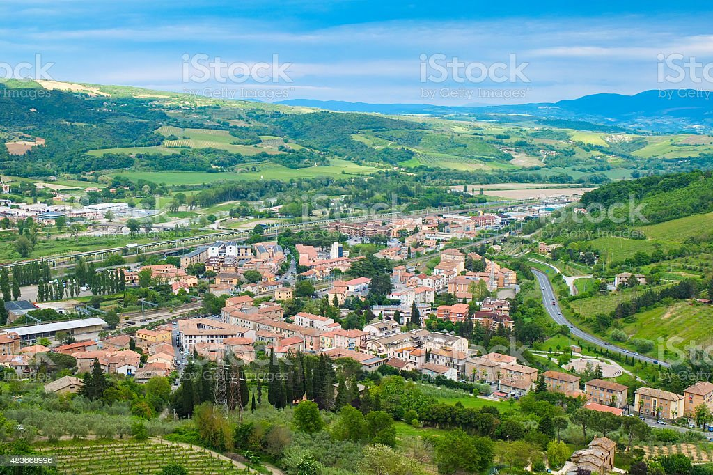 Panoramic landscape near the town of Orvieto Umbria Italy stock photo