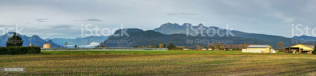 panoramic landscape of a farm stock photo