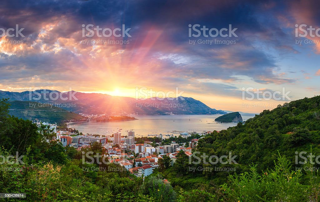Panoramic landscape of Budva riviera in Montenegro. stock photo