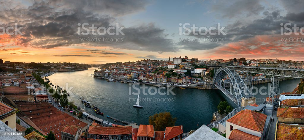 Panoramic landscape of oporto at sunset stock photo