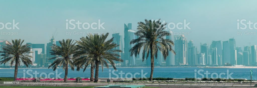 Panoramic landscape on financial center of Doha,Qatar from West Bay stock photo