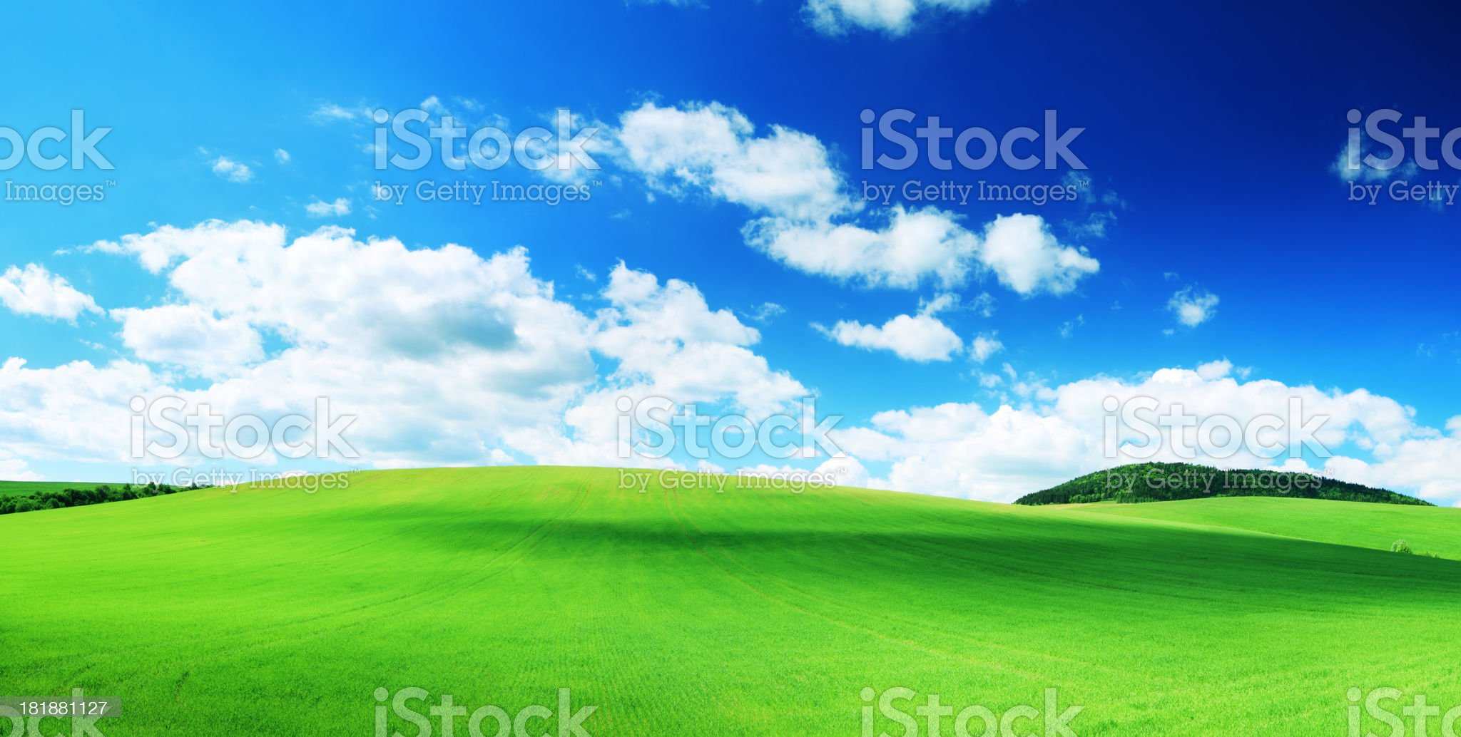 Panoramic Landscape - Shadows Dancing on Green Field royalty-free stock photo