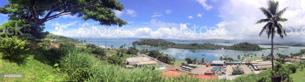 Panoramic landscape view of Savusavu Vanua Levu Fiji stock photo