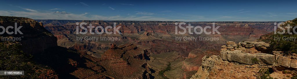 Panoramic landscape view of the Grand Canyon in AZ stock photo