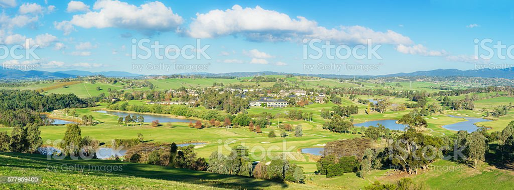 Panoramic landscape view of Yarra Valley in Melbourne stock photo