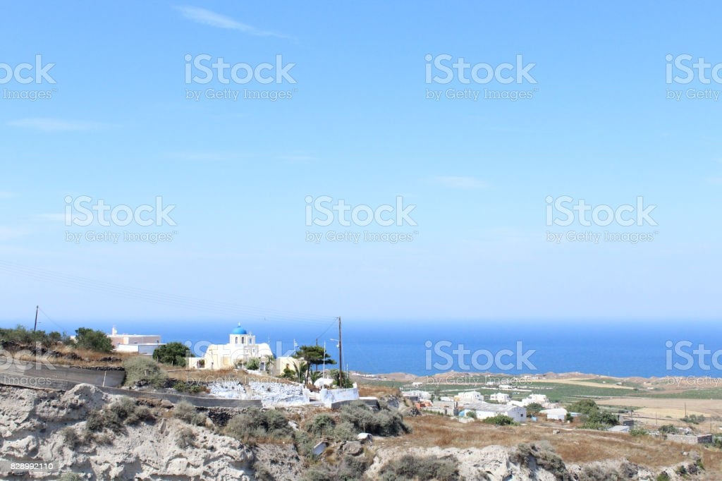 Panoramic Landscape Views of Santorini, the Greek Island of Europe stock photo