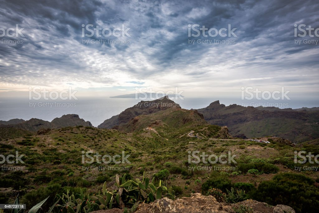 Panoramic landscape with dramatic sky on Tenerife island, Spain stock photo