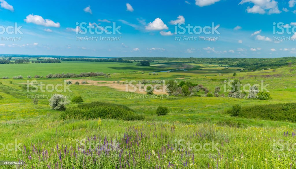 Panoramic landscape with fields and water-meadows near Oril river in central Ukraine stock photo