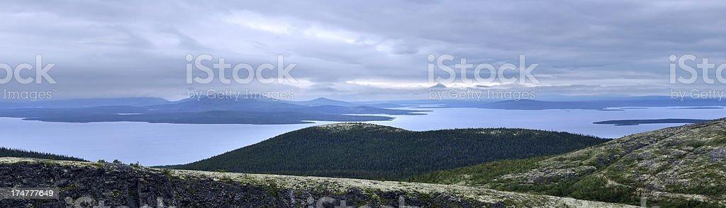 Panoramic landscape with Imandra Lake stock photo