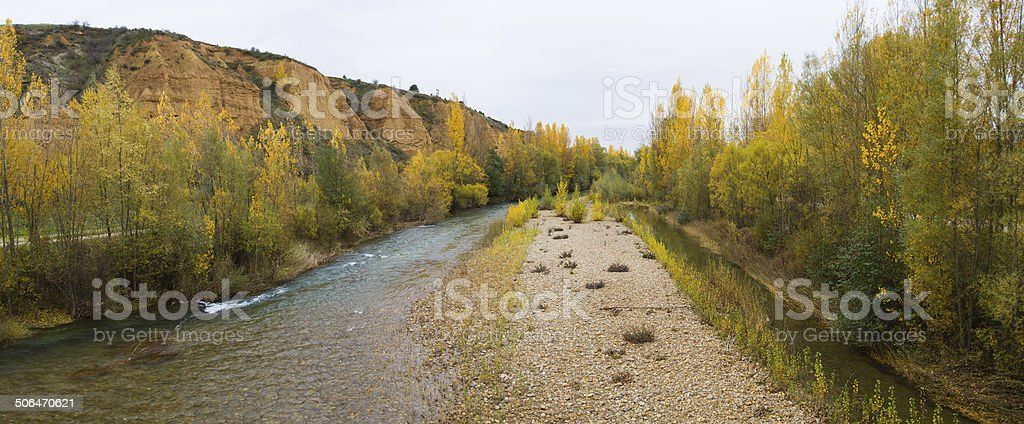 Panoramic Landscape with River in Autumn -  Paisaje con R?o stock photo