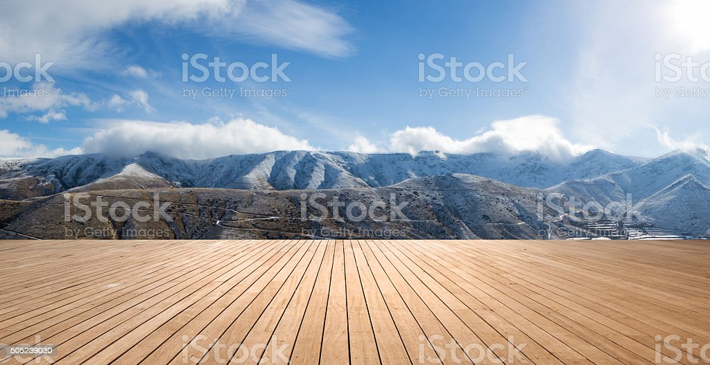 Panoramic landscape with wood floor stock photo