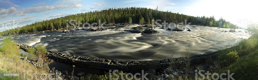 Panoramic long exposure shot of the Swedish river of Ammeraan stock photo