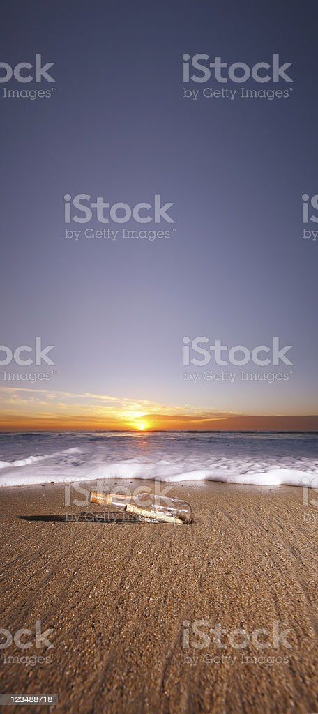 Panoramic message in bottle XXL royalty-free stock photo