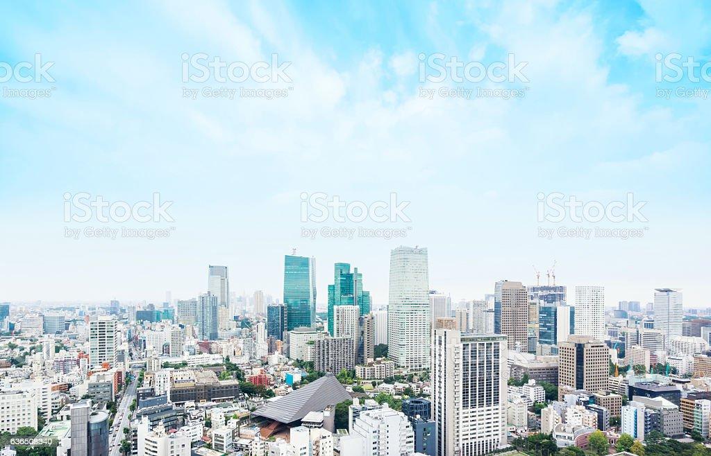 Panoramic modern city aerial view in Tokyo, Japan stock photo