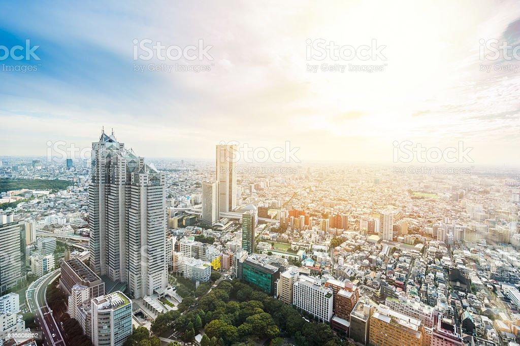 Panoramic modern city view in Tokyo, Japan stock photo