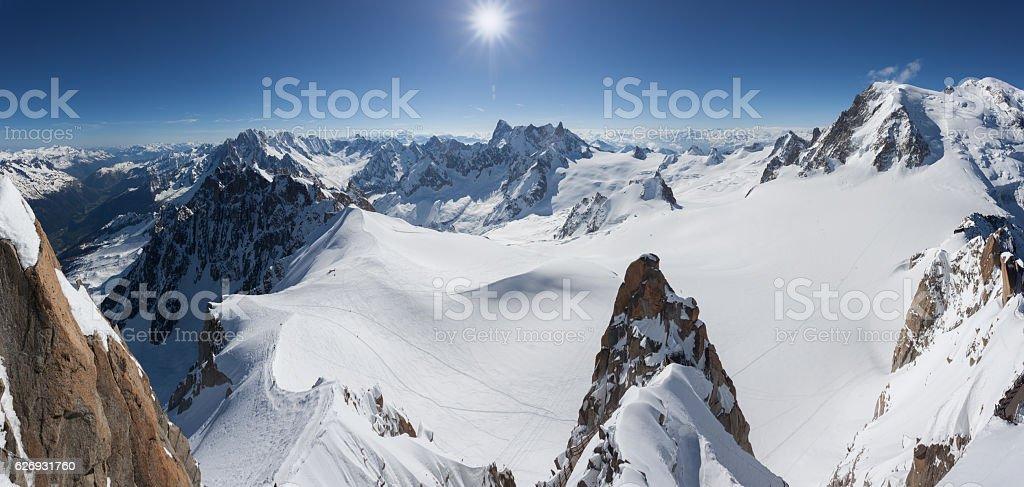 Panoramic Mont Blanc Summit From Aiguille du Midi, Chamonix, France stock photo