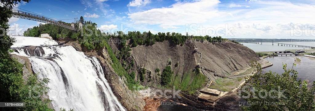 Panoramic Montmorency Falls in Summer, Quebec City, Canada stock photo