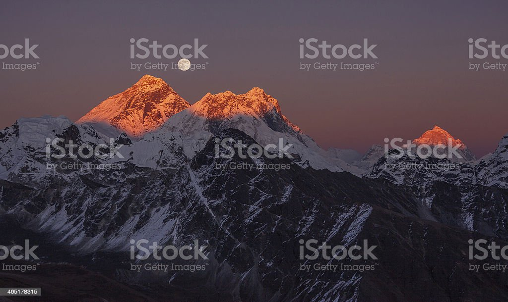 Panoramic Mount Everest Makalu Sunset royalty-free stock photo