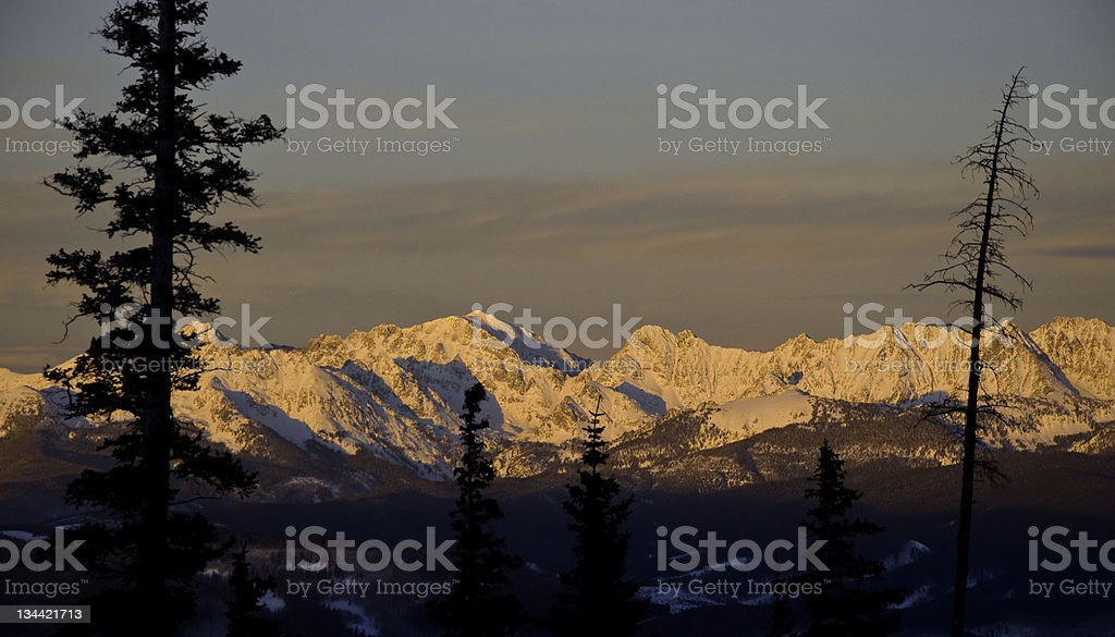 Panoramic Mountain Alpenglow on the Gore Range Colorado royalty-free stock photo