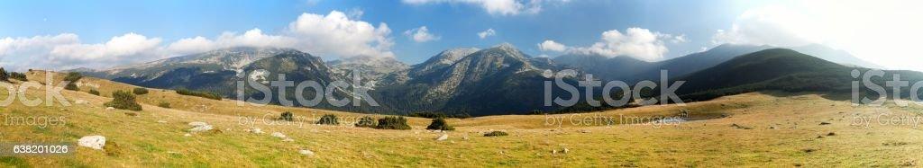 Panoramic mountain view from romanian Carpathi, Retezat mountains, Romania stock photo